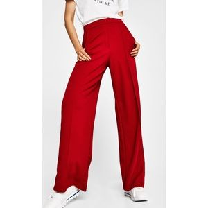 TOPSHOP | red wine high waist suit trousers